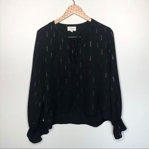 Everly Black & Gold Long Sleeve Blouse